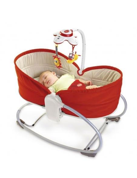 Wielofunkcyjny leżaczek-bujaczek-łóżeczko 3w1 - czerwony