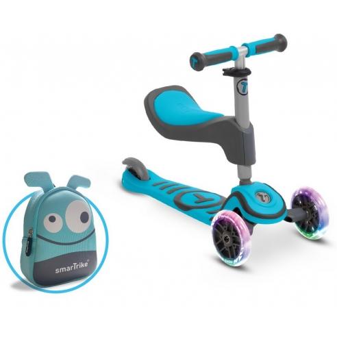 Hulajnoga Smart Trike Scooter T1 + świecące koła LED + torba-niebieska