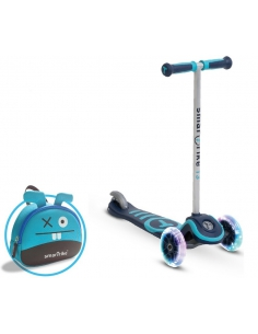 Smart Trike Hulajnoga Scooter T3 + świecące koła LED + torba-niebieska