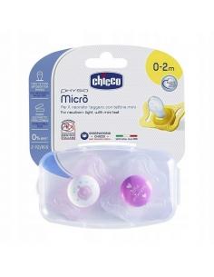 Chicco Smoczek Physio Micro 2 szt. silikonowy (0-2m+)