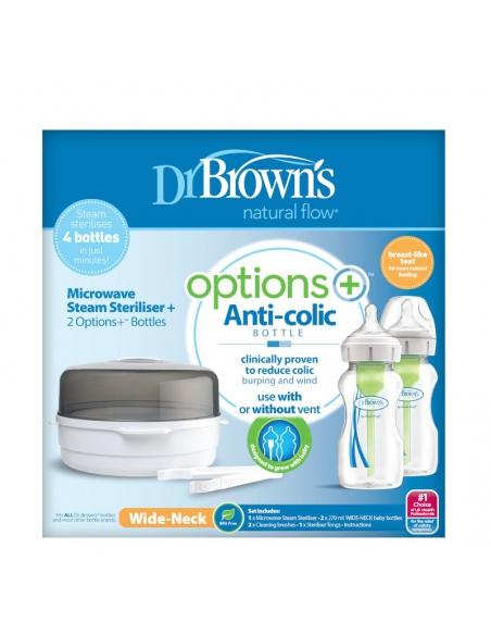 Dr. Brown's Sterylizator mikrofalowy z dwoma butelkami szeroka szyjka 270ml Options+
